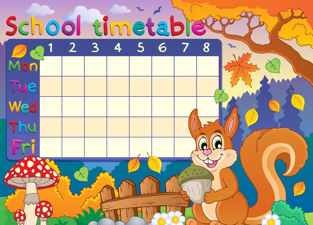 小学生幼儿园卡通课程表设计模板表格下载