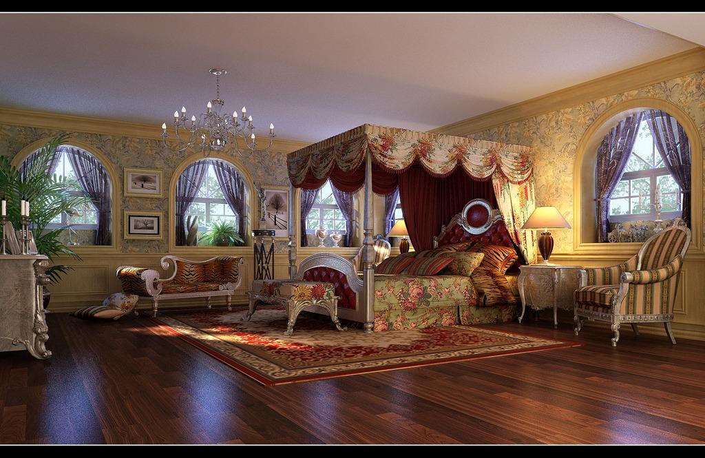 欧式豪华卧室3d模型源文件