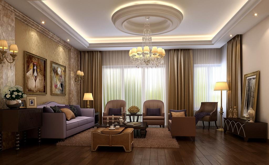 欧式客厅3d模型下载室内装修模型
