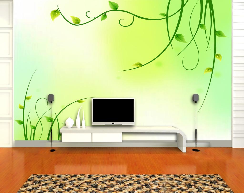 背景墙|装饰画 电视背景墙 手绘电视背景墙 > 线条绿叶电视背景墙  下