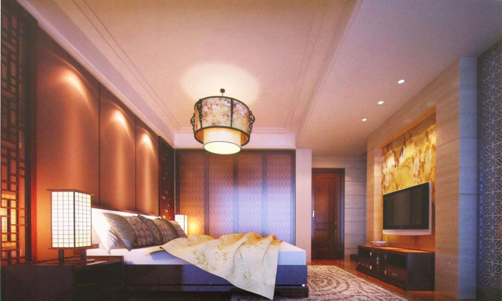 新中式时尚个性卧室效果图3d模型图片