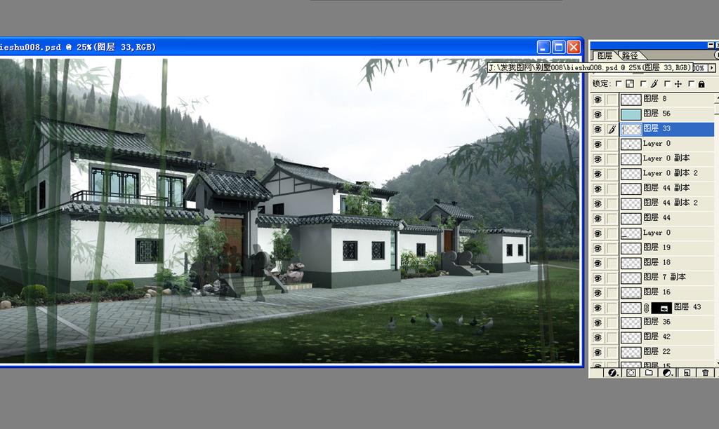 中式别墅外观效果图psd