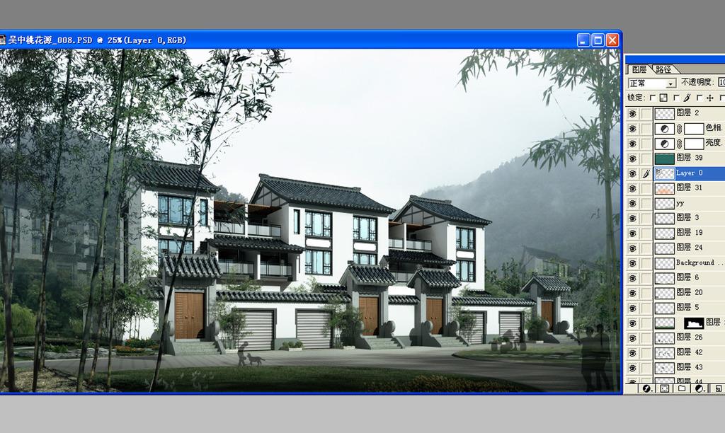 中式别墅外观效果图psd源文件1图片