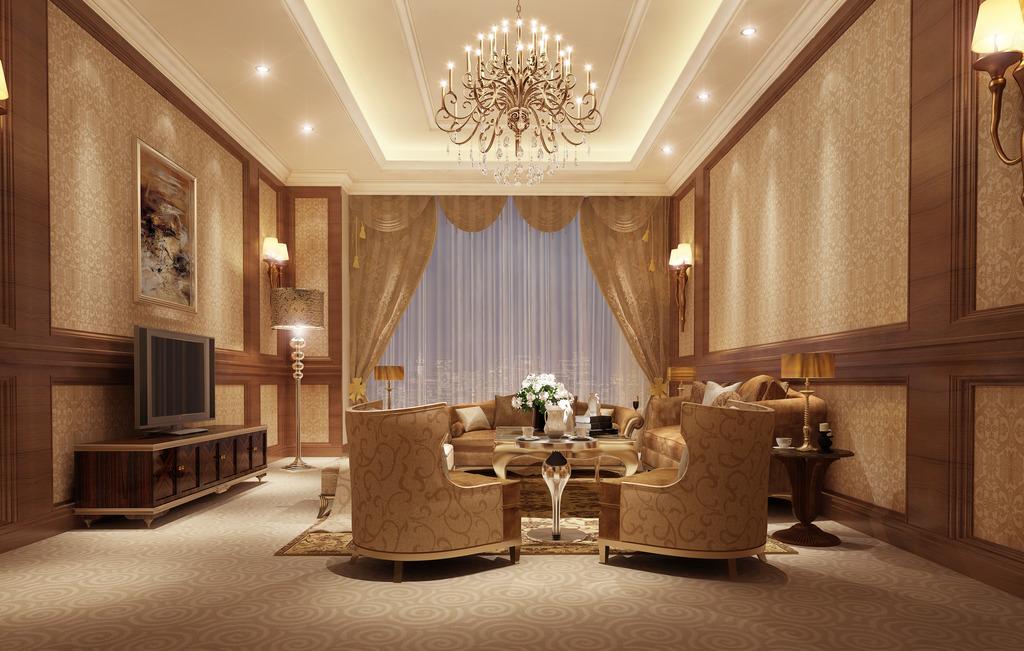 欧式豪华客厅3d模型模板方案