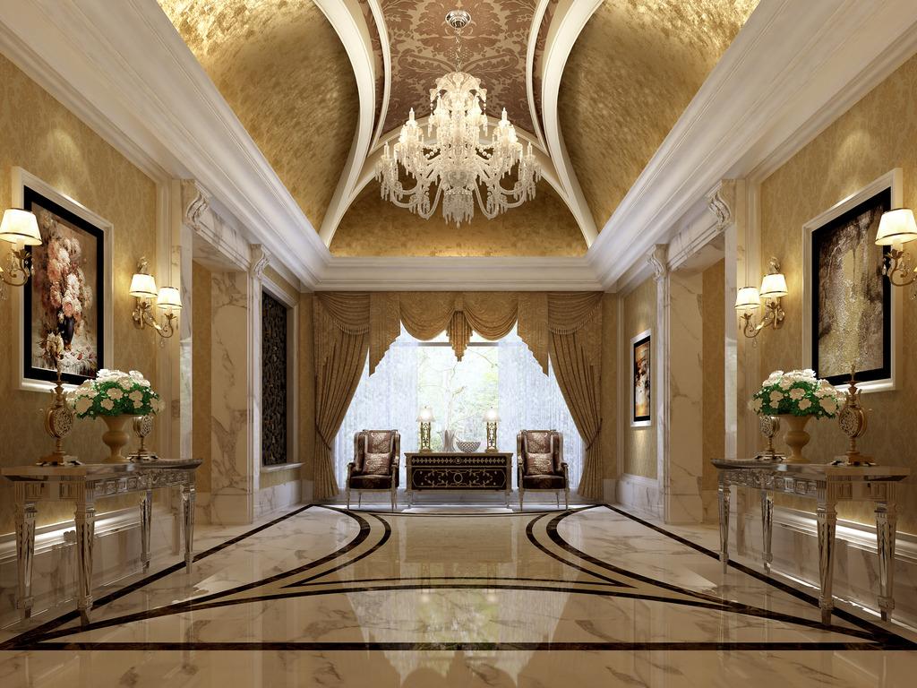 欧式酒店公寓别墅大理石客厅3d模型模板