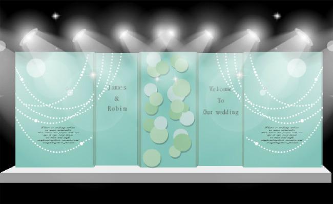 蒂芙尼蓝色婚礼舞台喷绘背景设计源文件模板下载