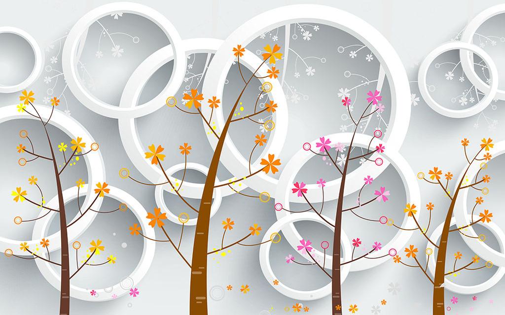 3d立体壁画手绘树木