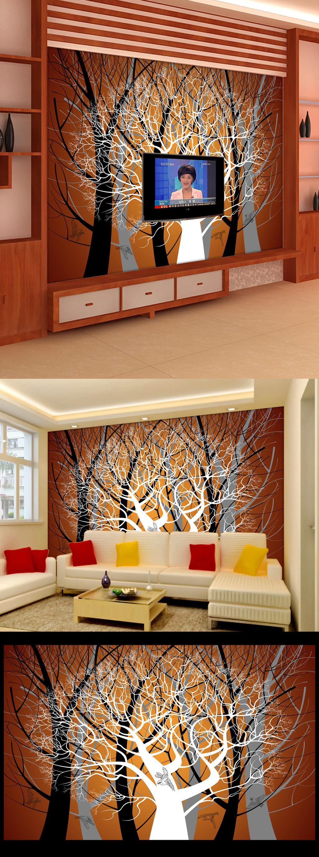 唯美手绘抽象树干电视背景墙