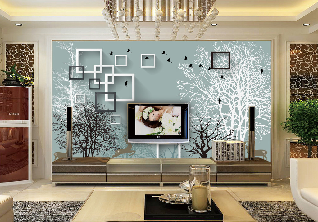 淡雅抽象大树3d电视背景墙