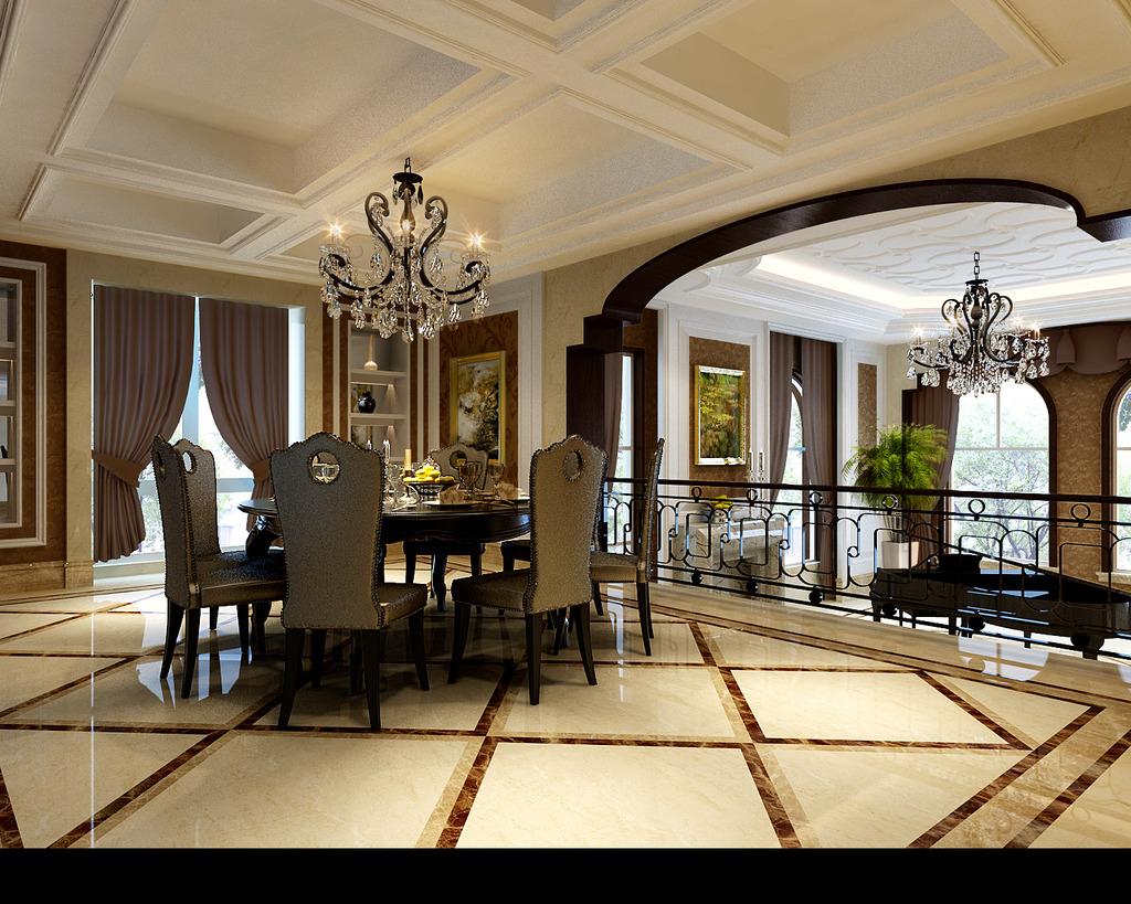 多图欧式别墅全套客餐厅3d模型模板