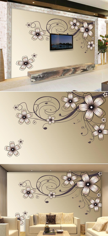 手绘百合花纹电视背景墙装饰画