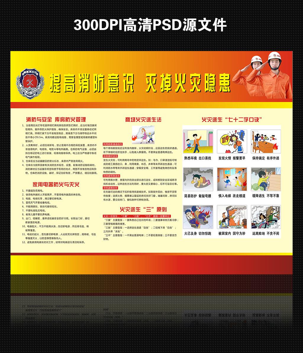 消防安全知识宣传展板模板下载