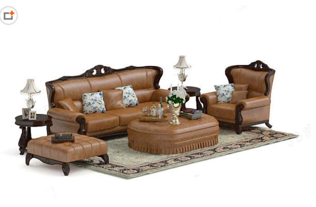 欧式风格皮沙发茶几组合3d模型设计