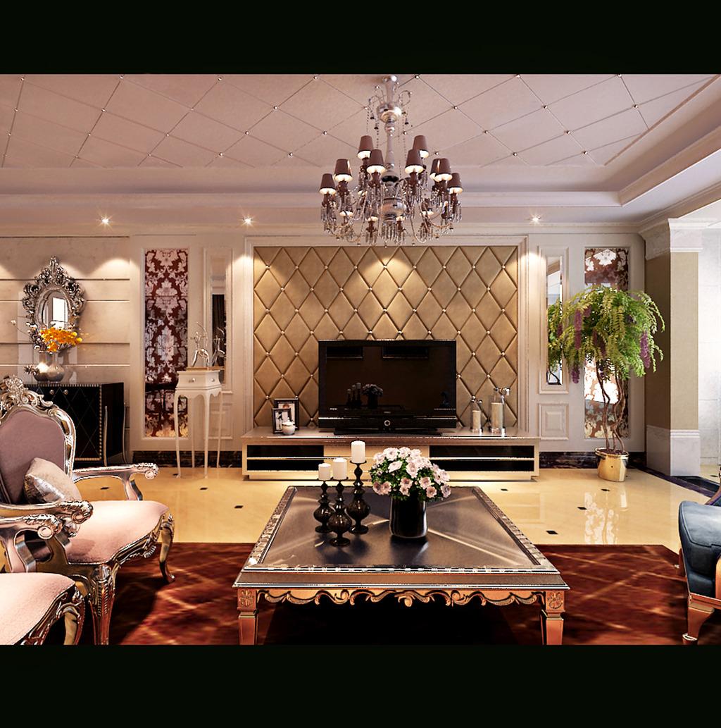 经典欧式客厅电视背景墙3d模型下载
