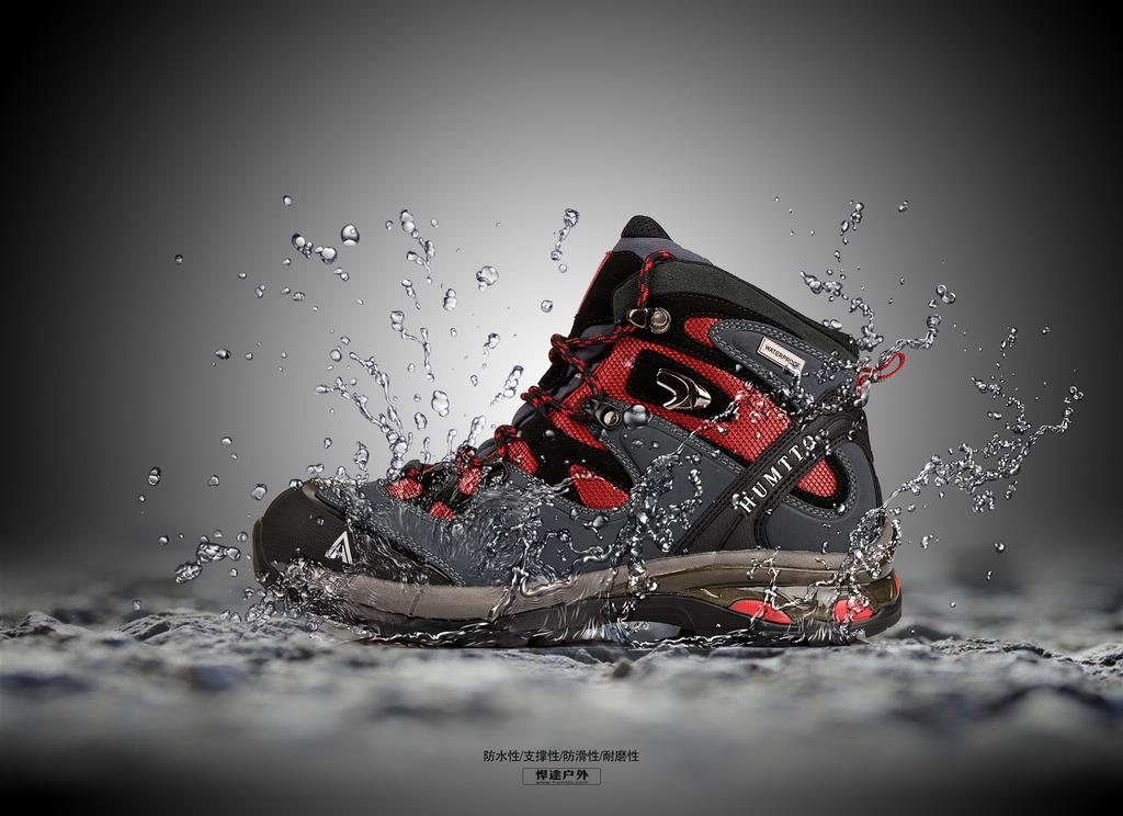 户外登山鞋海报创意设计防水鞋广告图片