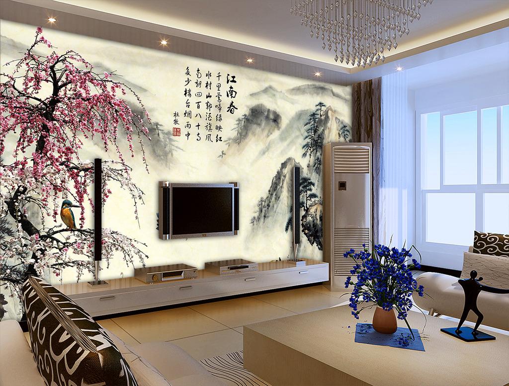 江南春梅花中式电视背景墙