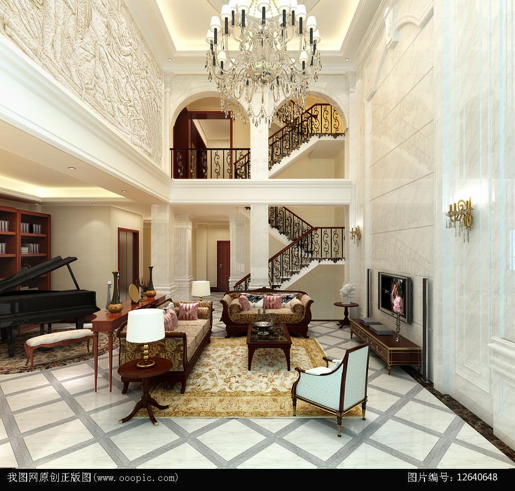 欧式别墅客厅餐厅过道3d模型下载