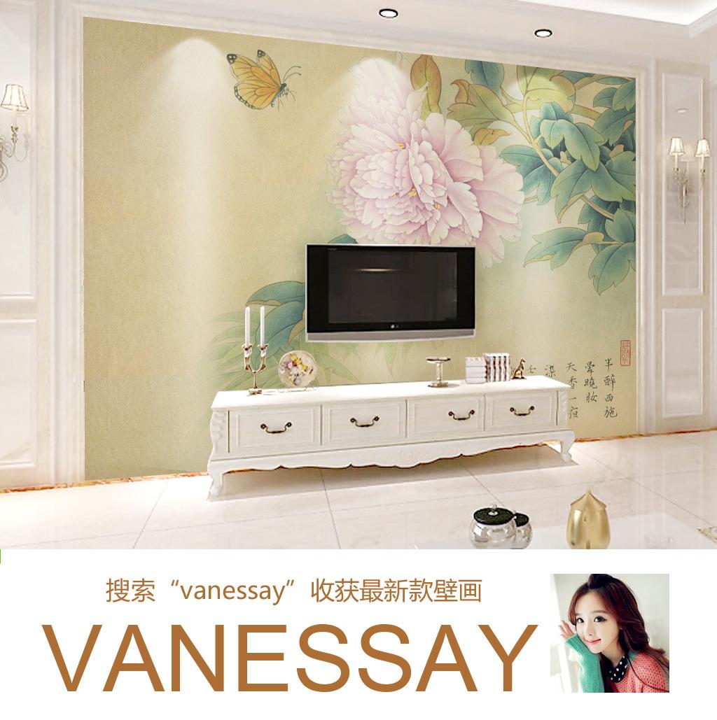 背景墙|装饰画 电视背景墙 中式电视背景墙 > 手绘粉色牡丹蝴蝶客厅