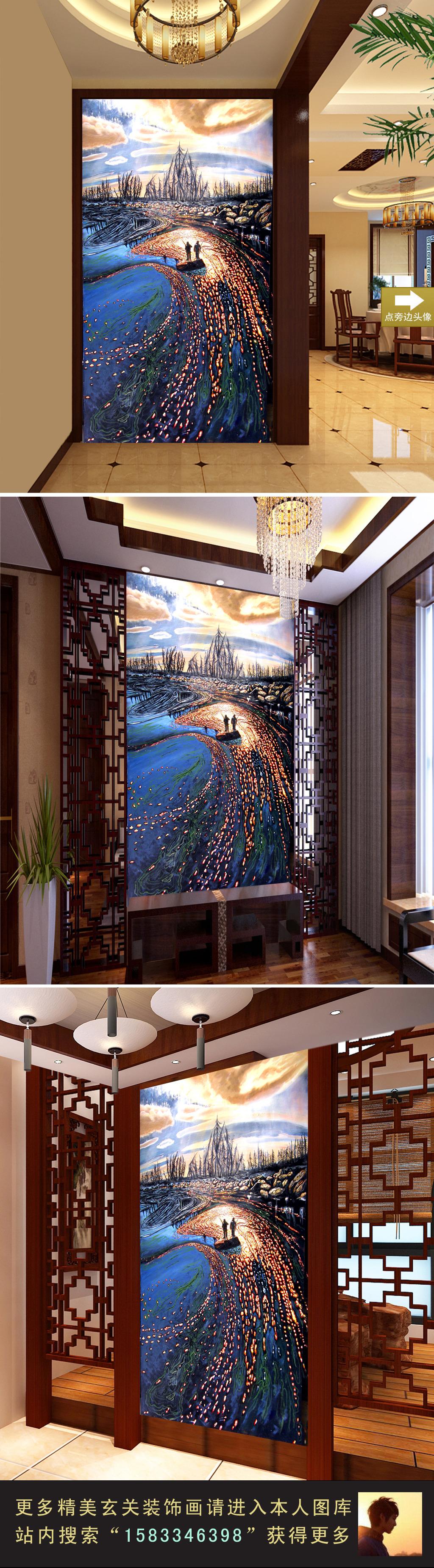 浪漫手绘立体海岸风景油画玄关门厅