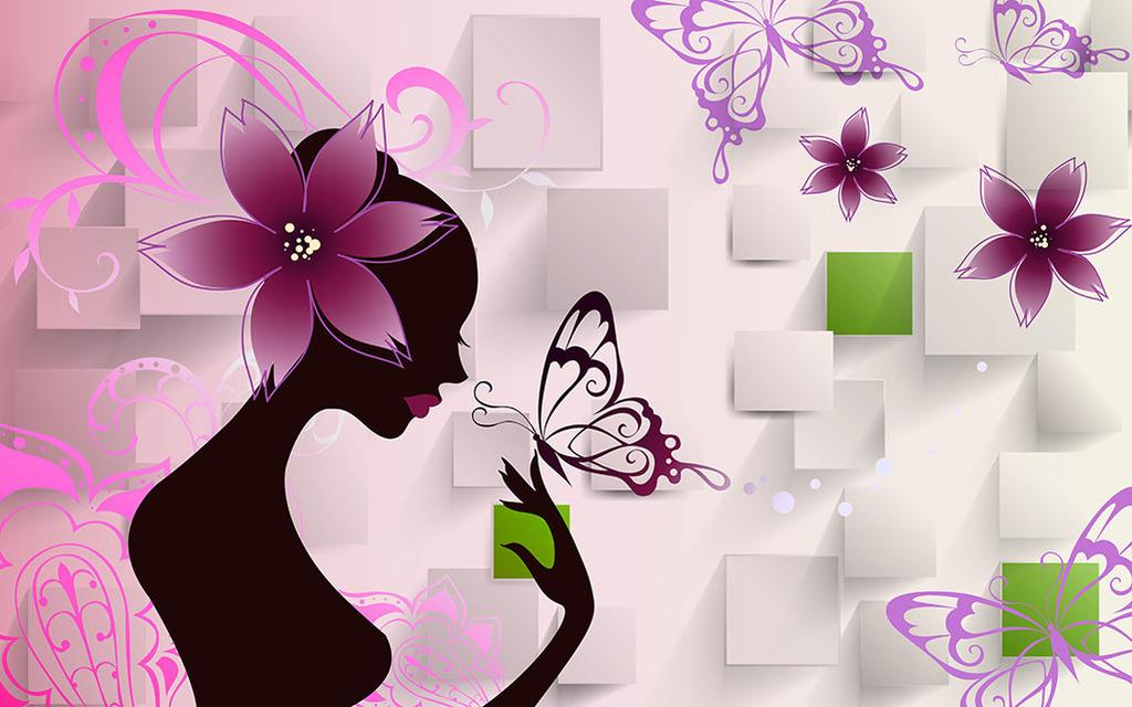 背景立体美人图现代简约电视墙唯美浪漫花朵花纹蝴蝶室内装饰画装饰画