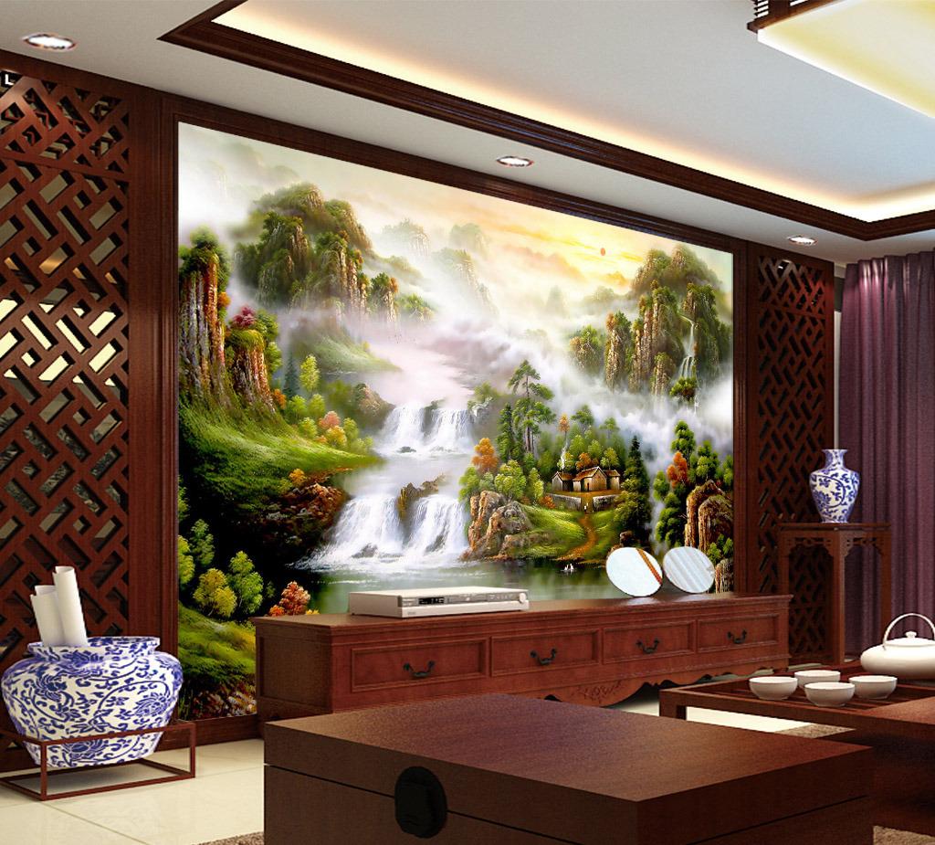 精美欧式风格山水国画风景画电视背景墙图片
