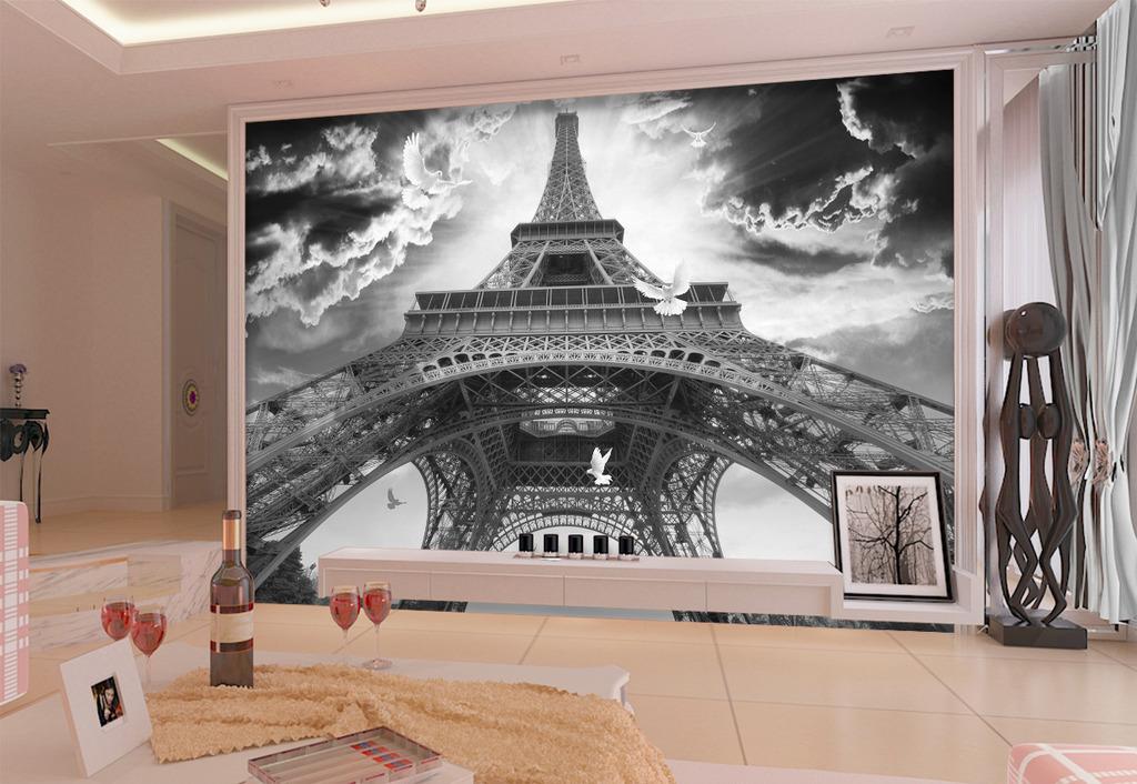 法国巴黎埃菲尔铁塔鸽子电视背景墙
