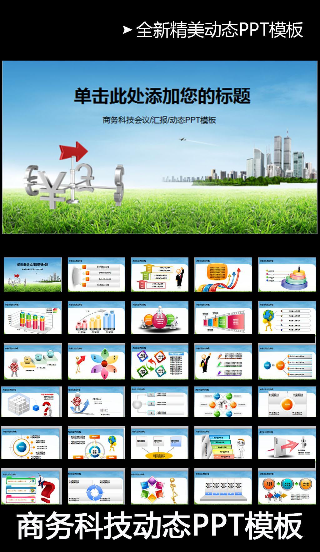商务科技会议汇报动态ppt模板图片