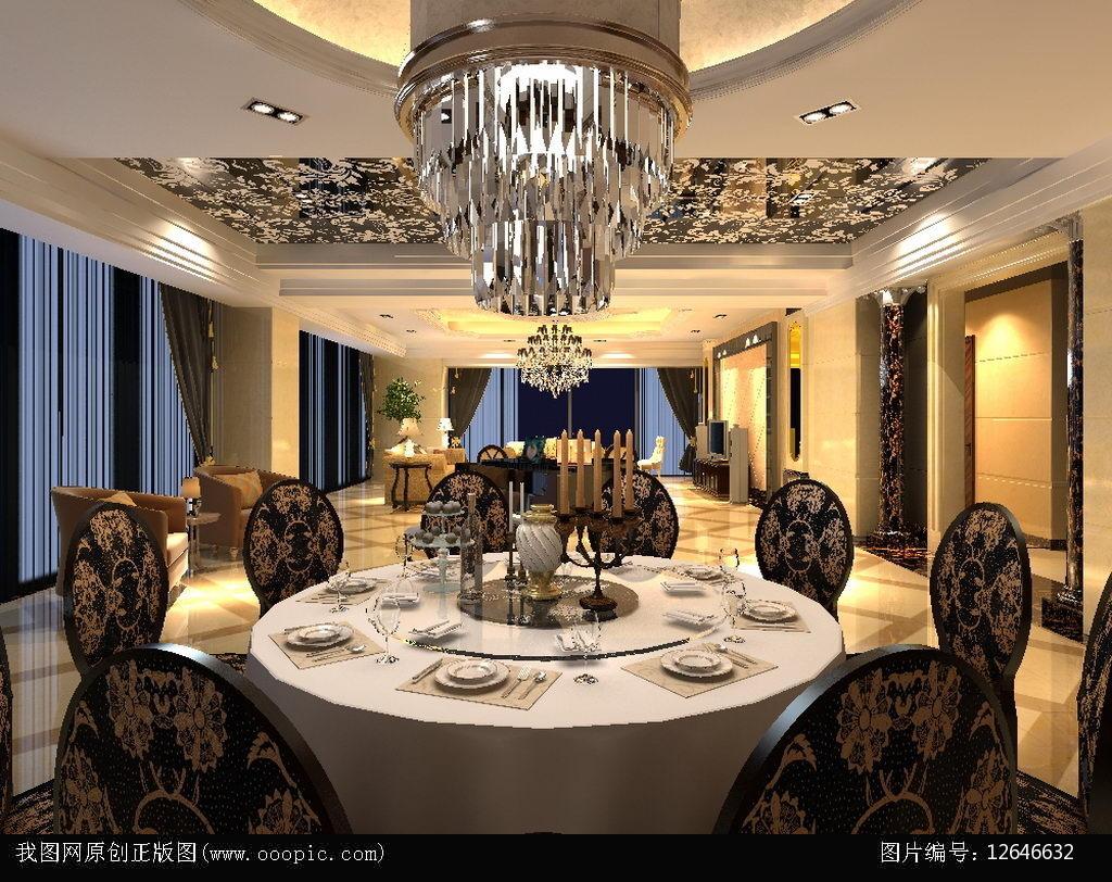 豪华欧式餐厅3d模型下载