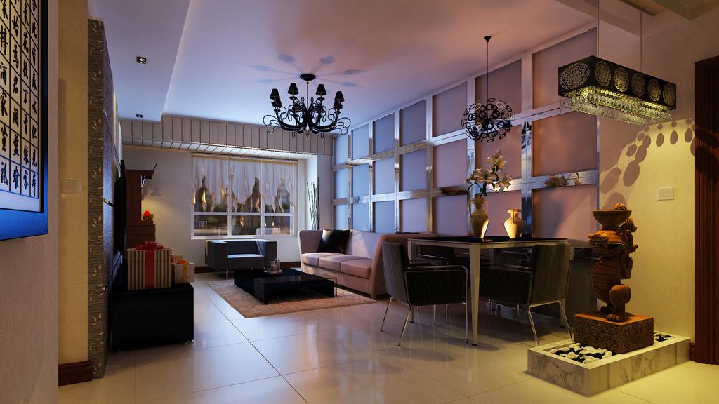 欧式暖色调豪华卧室3d模型 灯光贴图