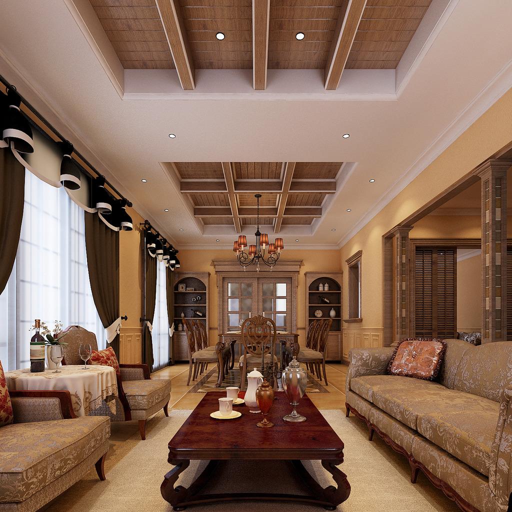 吊顶 灯光 高模 套房 家装 室内装潢 木质吊顶风格 室内效果图 客厅