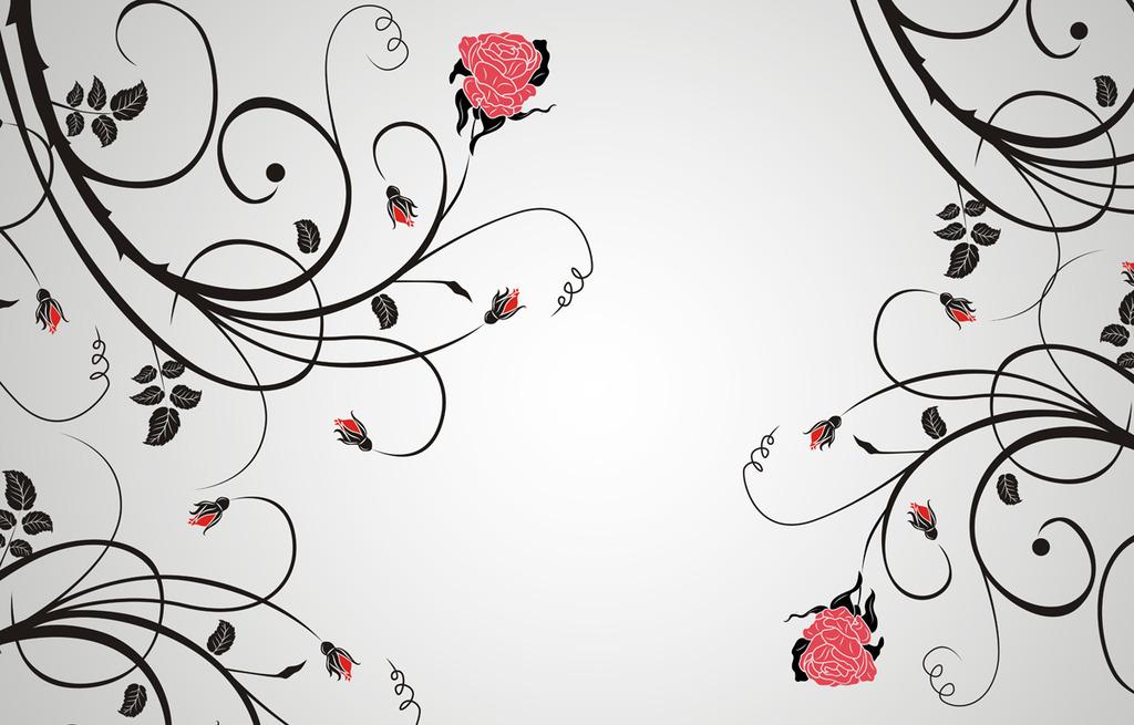花纹电视背景墙玫瑰花