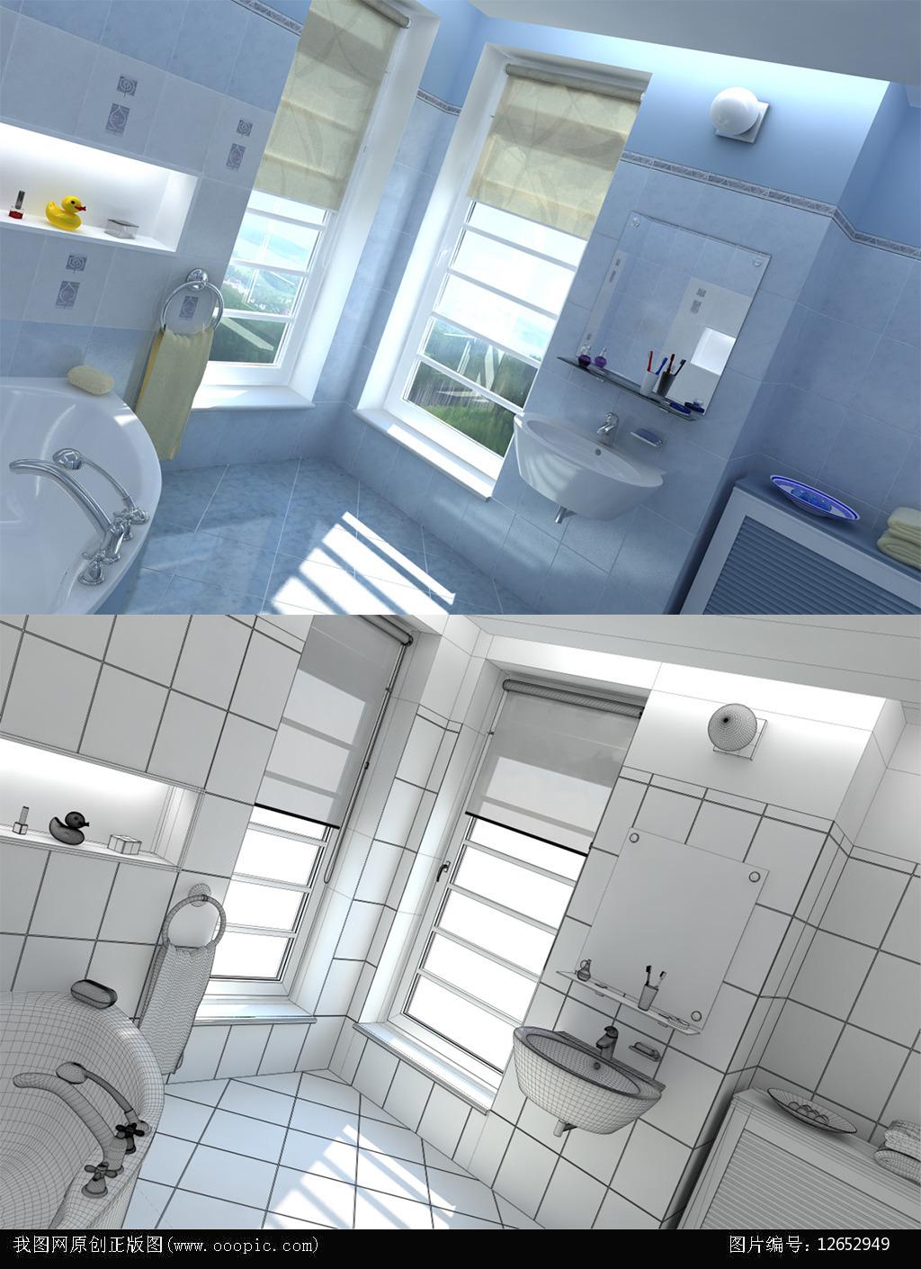c4d超写实洗手间设计效果图带材质