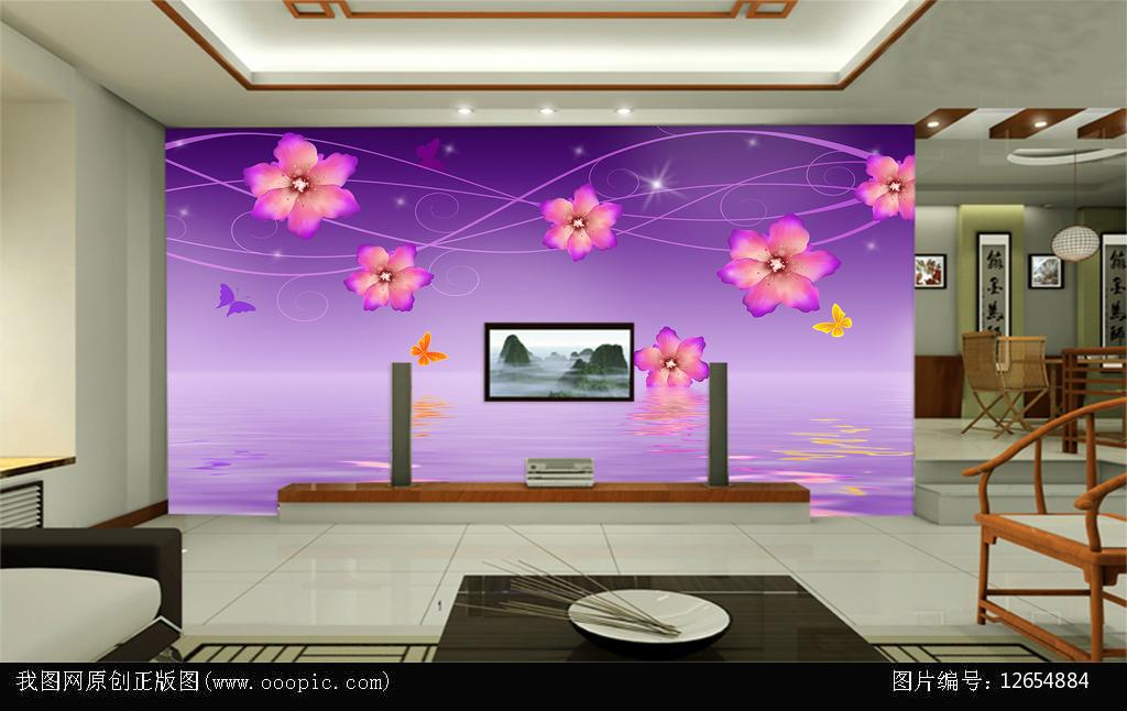 电视背景墙欧式大型壁画时尚花卉3d立体图片