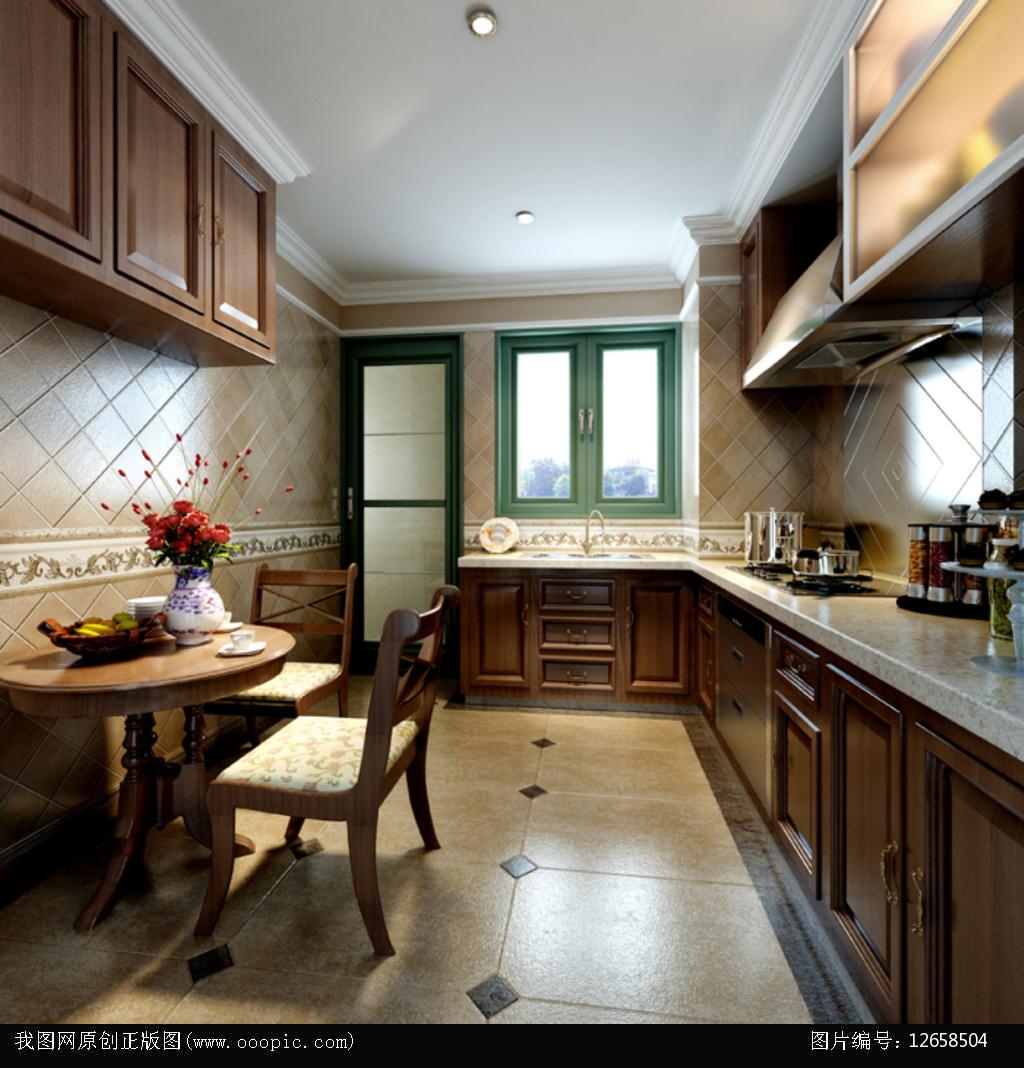 3dmax欧式厨房模型图片下载 深木色欧式地柜吊柜仿古砖地面电冰箱图片