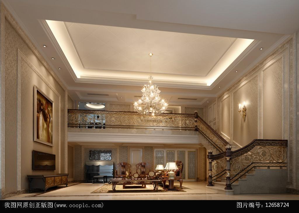 跃层式欧式客厅3d模型+灯光贴图