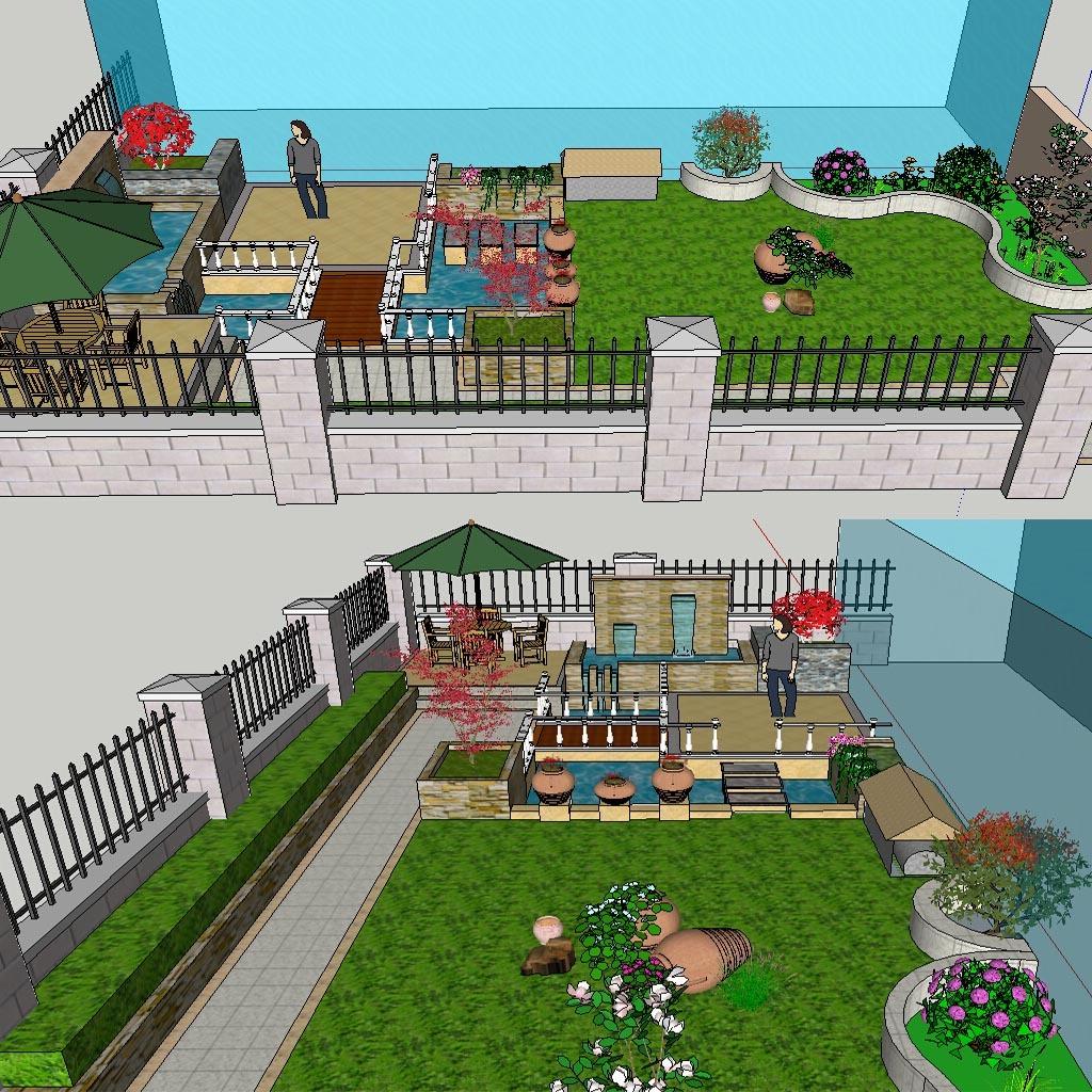 欧式别墅庭院花园景观模型