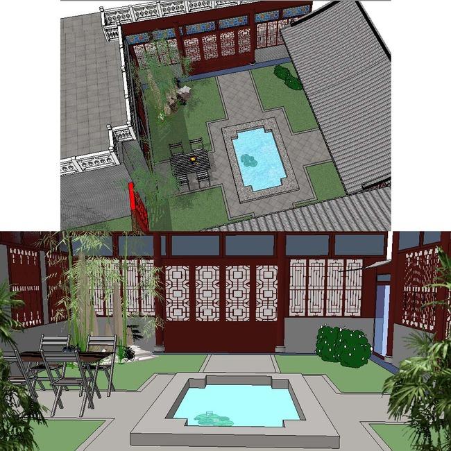 sketchup中式花园中庭景观模型图片下载 别墅庭院模型 花园su草图图片