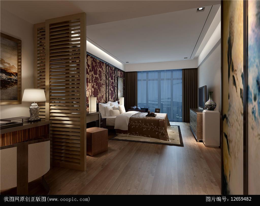 欧式木地板卧室3d模型+灯光贴图