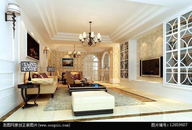 背景墙 大理石 钢琴 欧式别墅效果图