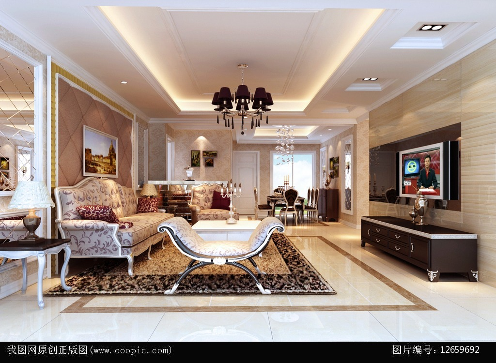 豪华欧式客厅模型下载模板下载(图片编号:12659692)