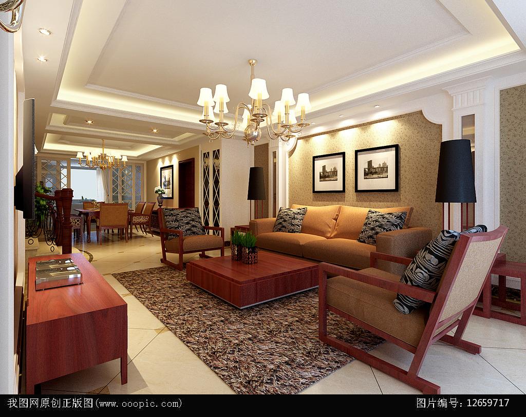 豪华欧式客厅3d模型下载模板下载