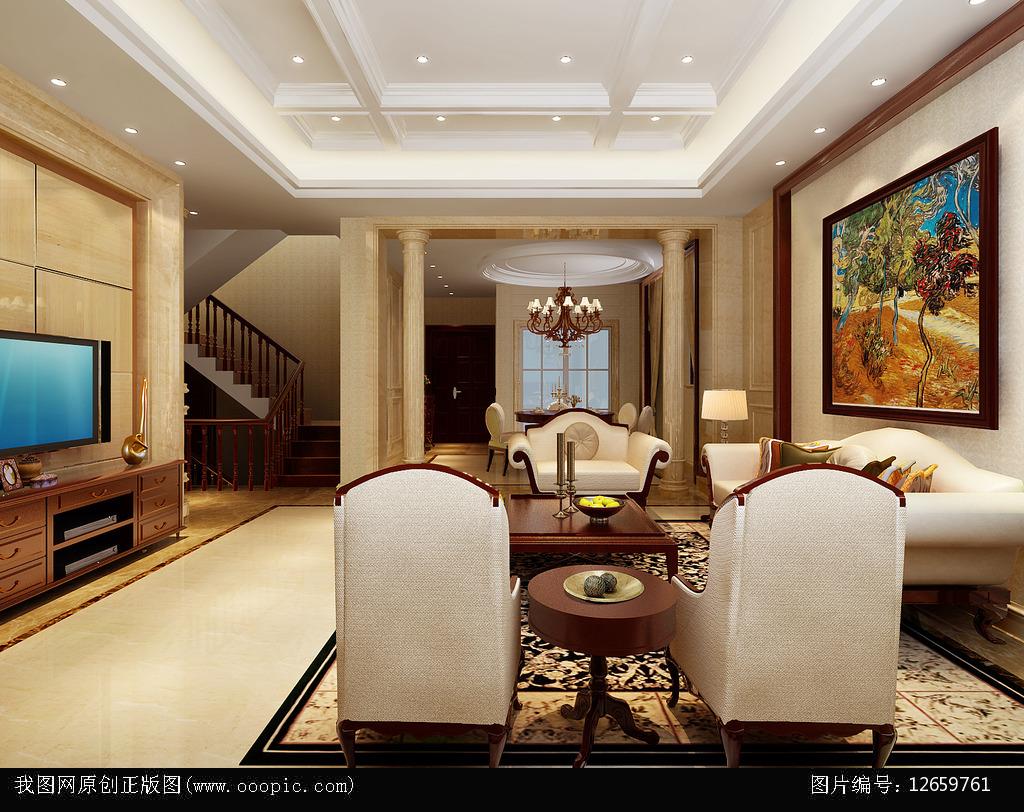 装修效果图 背景墙 大理石 钢琴 欧式别墅效果图 欧式客厅模型含材质