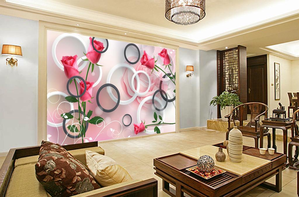 3d圆圈玫瑰花背景立体电视背景墙壁画