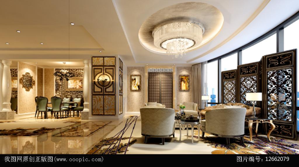 3dmax欧式别墅客餐厅模型图片下载