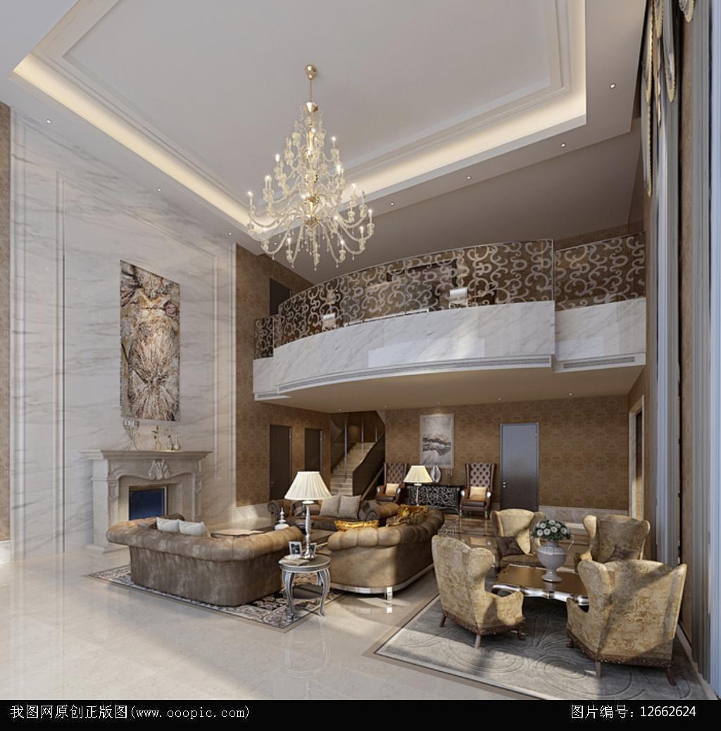 3dmax欧式风格别墅客厅模型2图片