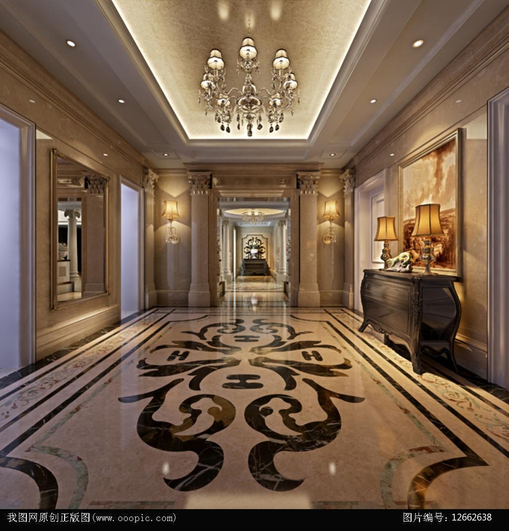 3dmax欧式别墅走廊模型图片下载图片