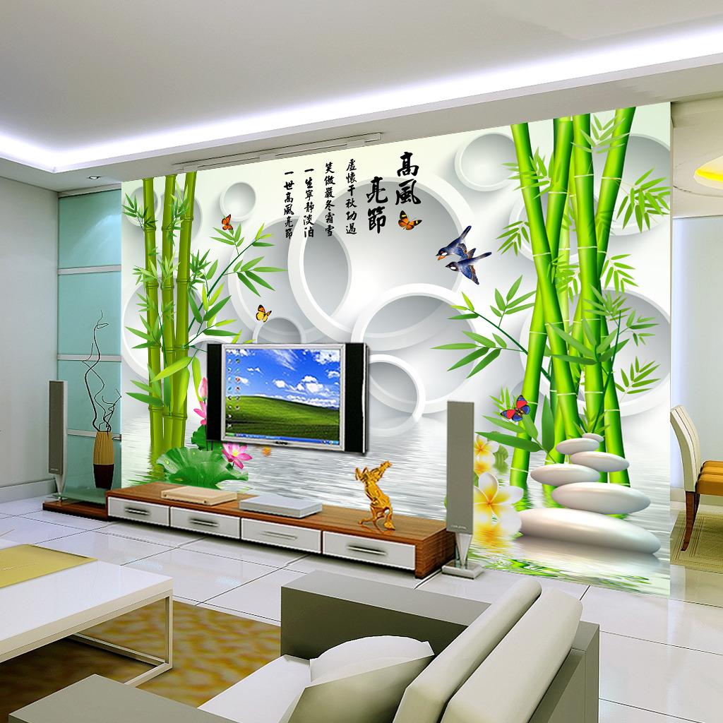 3d立体竹子倒影电视背景墙壁纸壁画