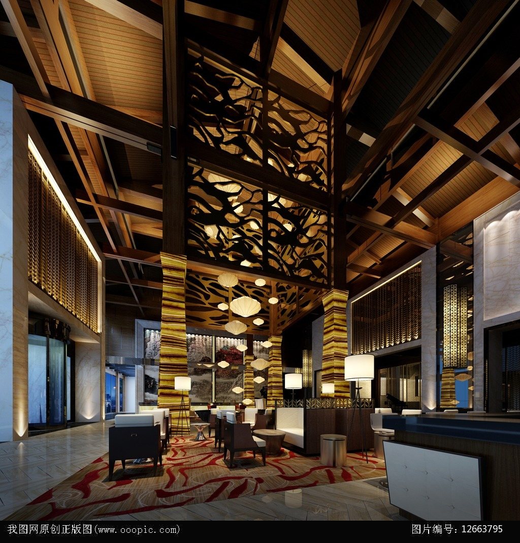 3dmax中式风格酒吧模型图片