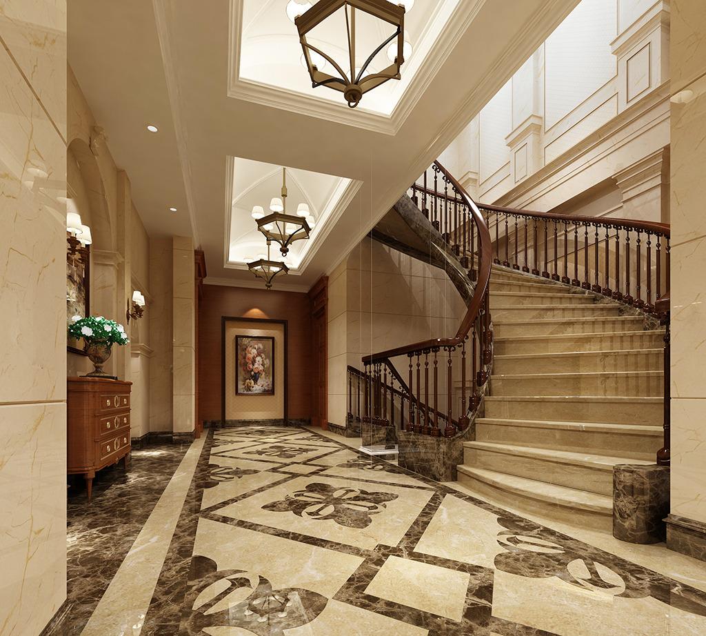 欧式楼梯间3d模型图片下载