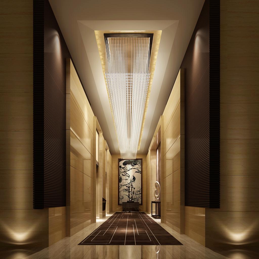 工装夜景电梯间3d效果图模型